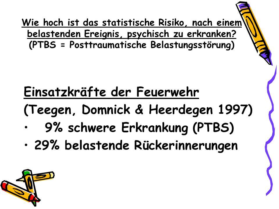 Einsatzkräfte der Feuerwehr (Teegen, Domnick & Heerdegen 1997)