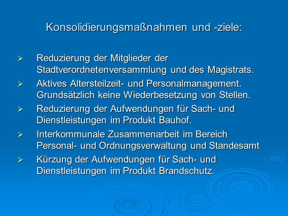 Konsolidierungsmaßnahmen und -ziele: