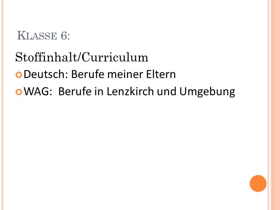Stoffinhalt/Curriculum Deutsch: Berufe meiner Eltern