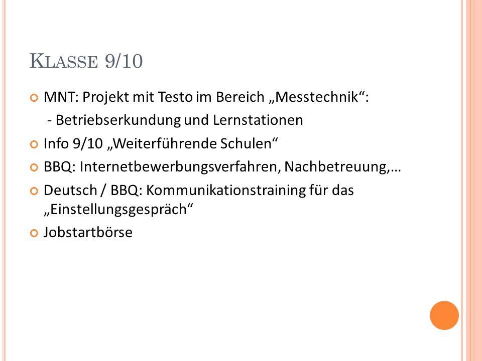 """Klasse 9/10 MNT: Projekt mit Testo im Bereich """"Messtechnik :"""