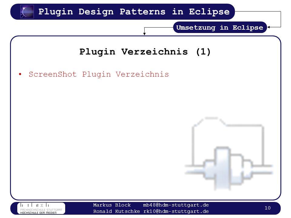 Plugin Verzeichnis (1) ScreenShot Plugin Verzeichnis