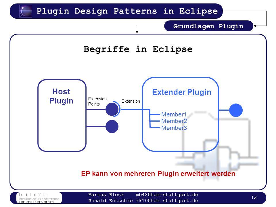 Begriffe in Eclipse Host Extender Plugin Plugin Grundlagen Plugin