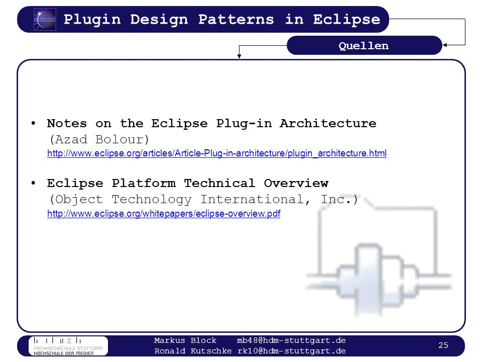 Quellen Notes on the Eclipse Plug-in Architecture (Azad Bolour) http://www.eclipse.org/articles/Article-Plug-in-architecture/plugin_architecture.html.