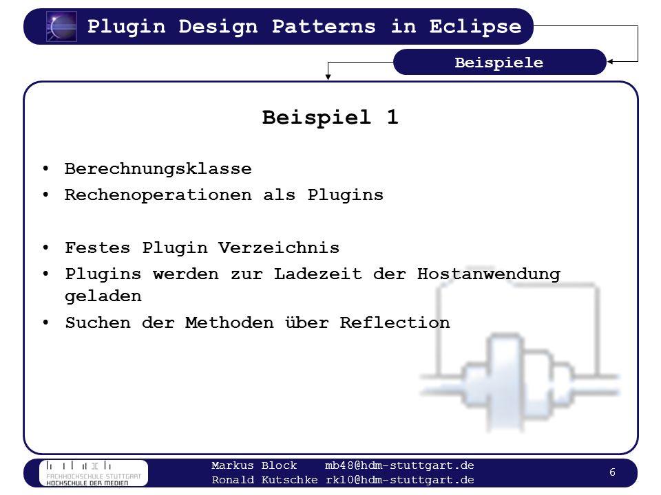 Beispiel 1 Berechnungsklasse Rechenoperationen als Plugins