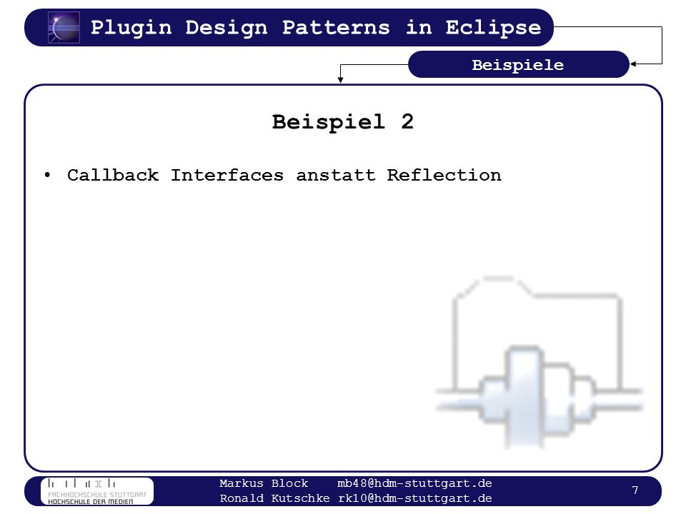 Beispiel 2 Callback Interfaces anstatt Reflection Beispiele