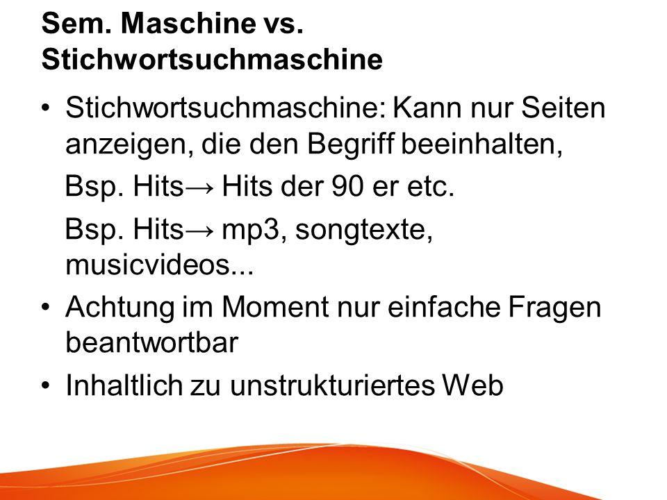 Sem. Maschine vs. Stichwortsuchmaschine
