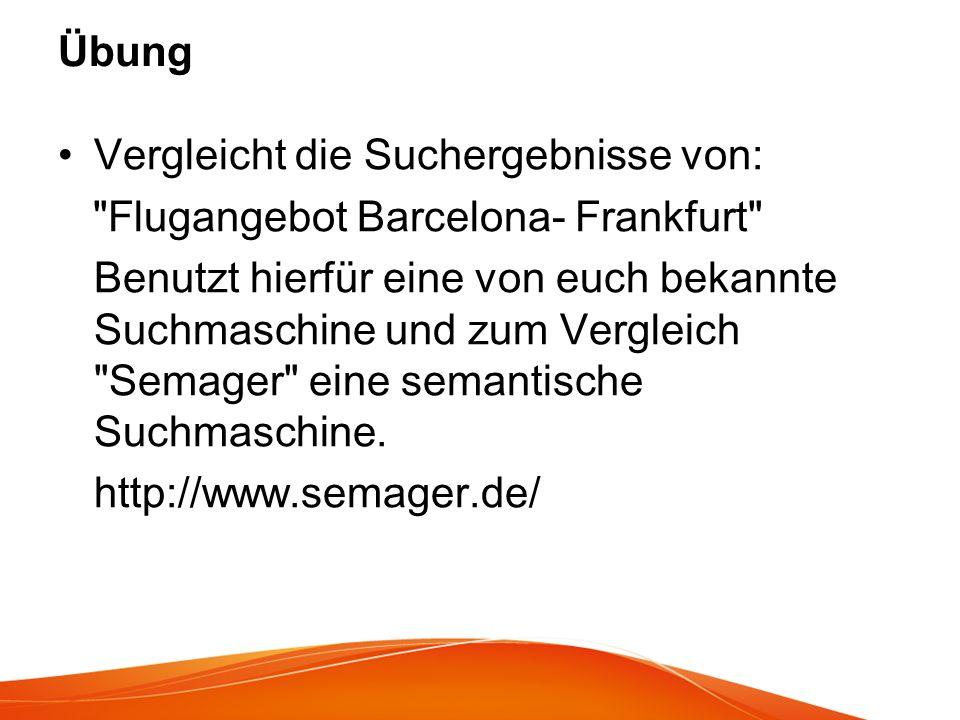 Übung Vergleicht die Suchergebnisse von: Flugangebot Barcelona- Frankfurt
