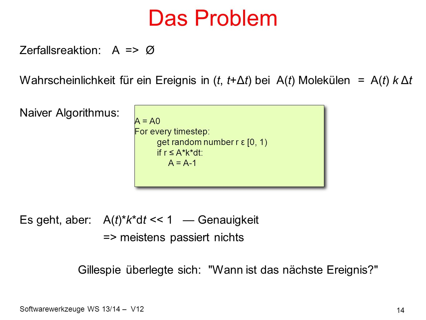 Das Problem Zerfallsreaktion: A => Ø