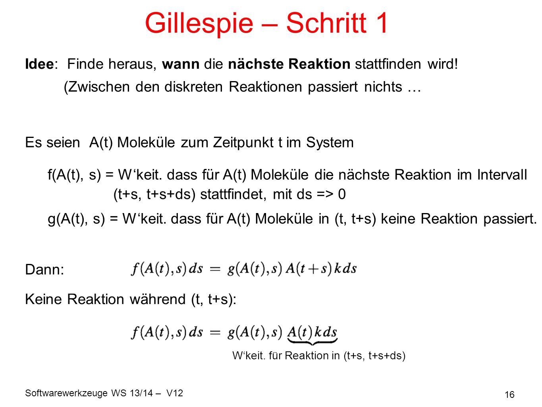 Gillespie – Schritt 1 Idee: Finde heraus, wann die nächste Reaktion stattfinden wird! (Zwischen den diskreten Reaktionen passiert nichts …