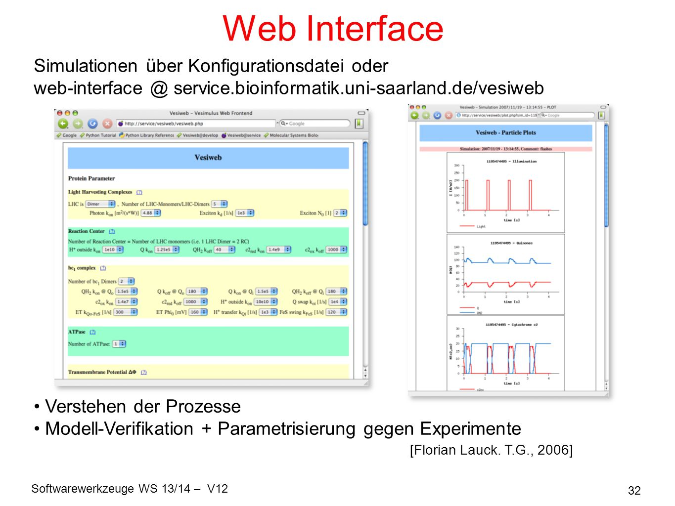 Web Interface Simulationen über Konfigurationsdatei oder