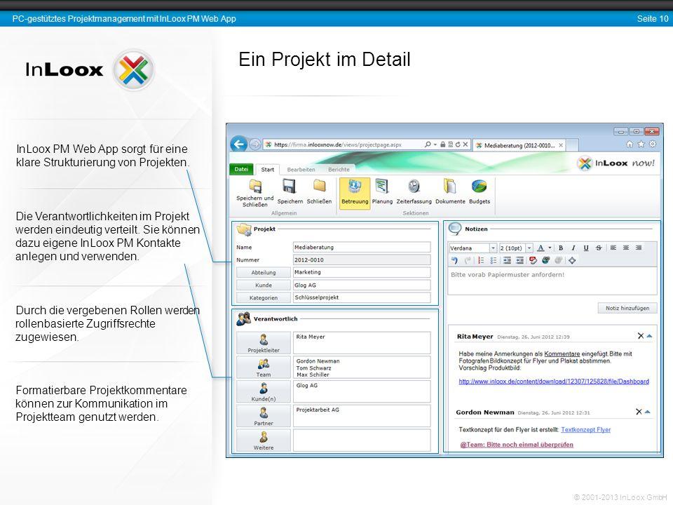 Ein Projekt im Detail InLoox PM Web App sorgt für eine klare Strukturierung von Projekten.