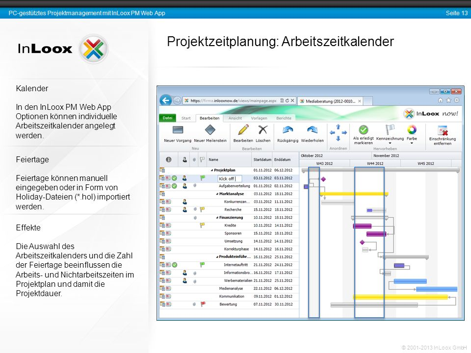 Projektzeitplanung: Arbeitszeitkalender