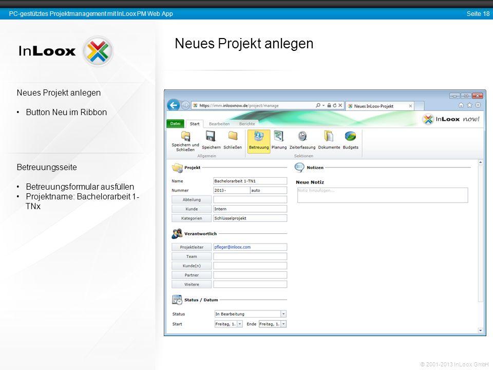 Neues Projekt anlegen Neues Projekt anlegen Button Neu im Ribbon