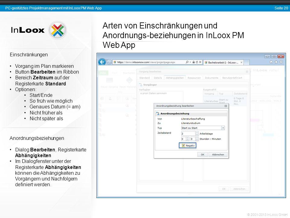 Arten von Einschränkungen und Anordnungs-beziehungen in InLoox PM Web App