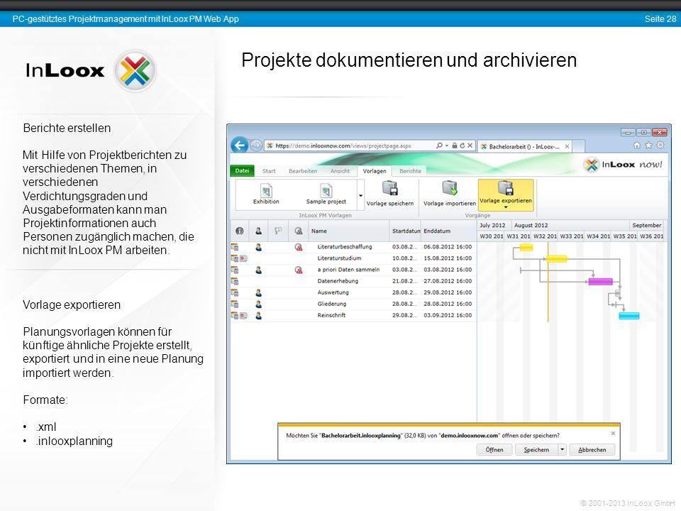 Projekte dokumentieren und archivieren