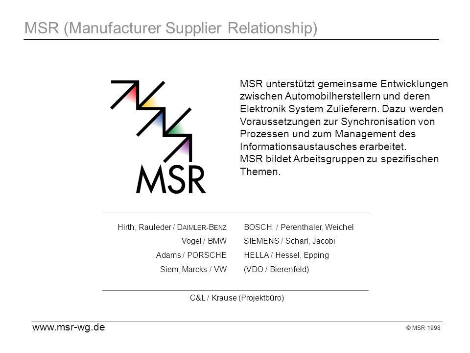 MSR (Manufacturer Supplier Relationship)