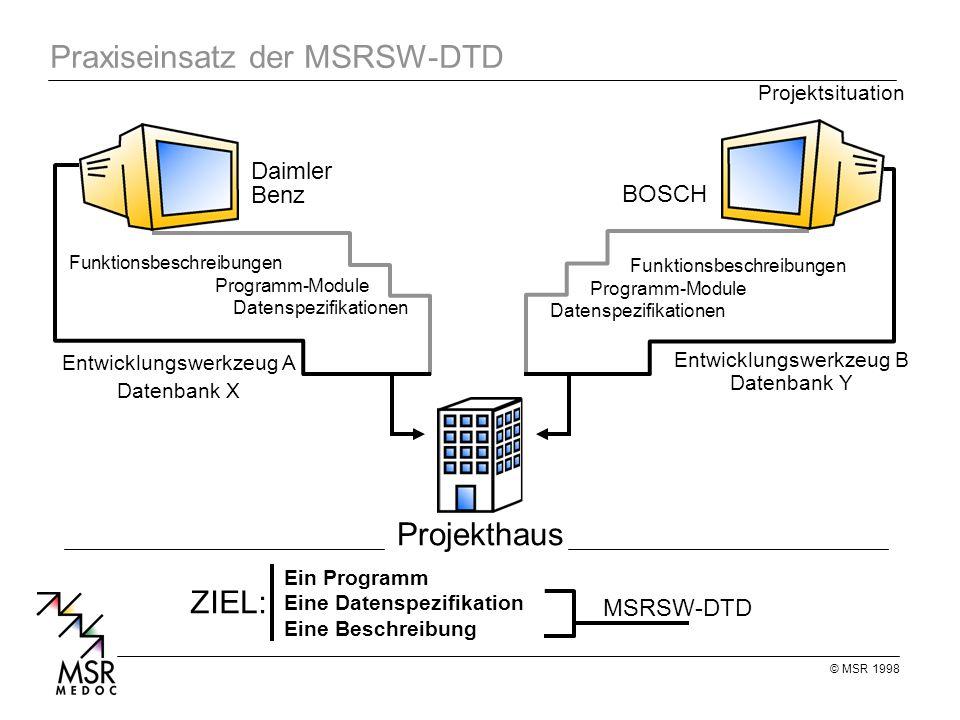 Praxiseinsatz der MSRSW-DTD