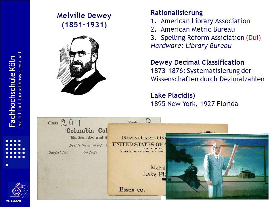 Melville Dewey (1851–1931) Fachhochschule Köln