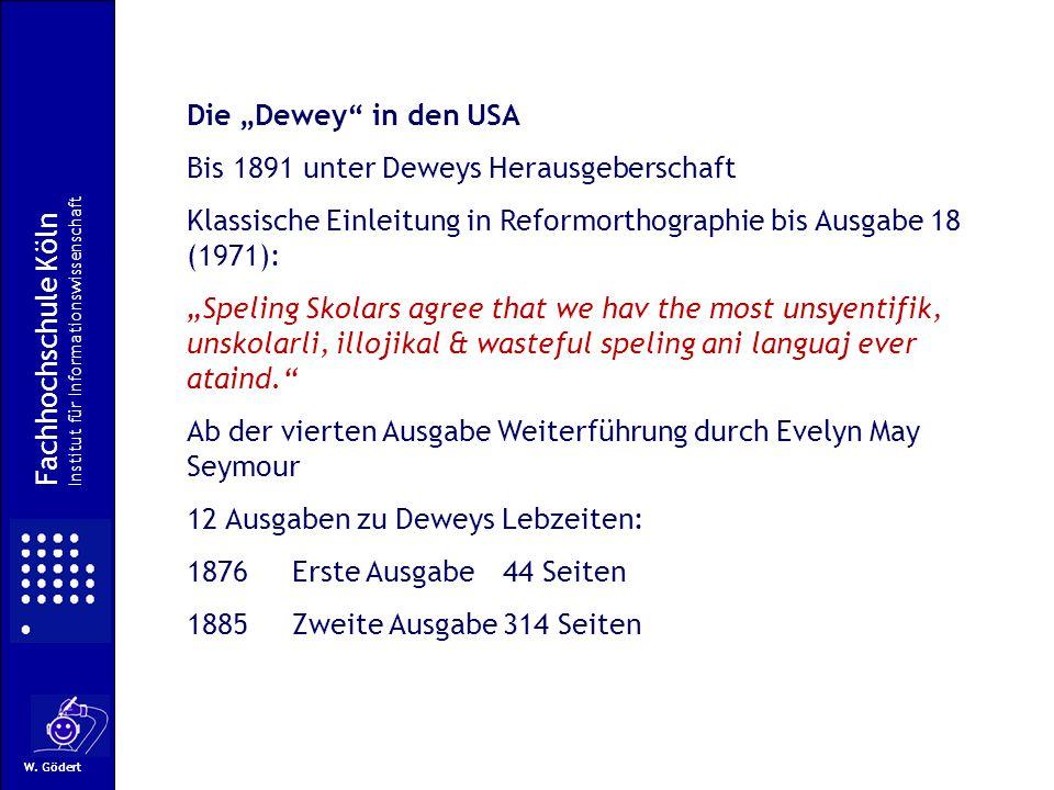 Bis 1891 unter Deweys Herausgeberschaft