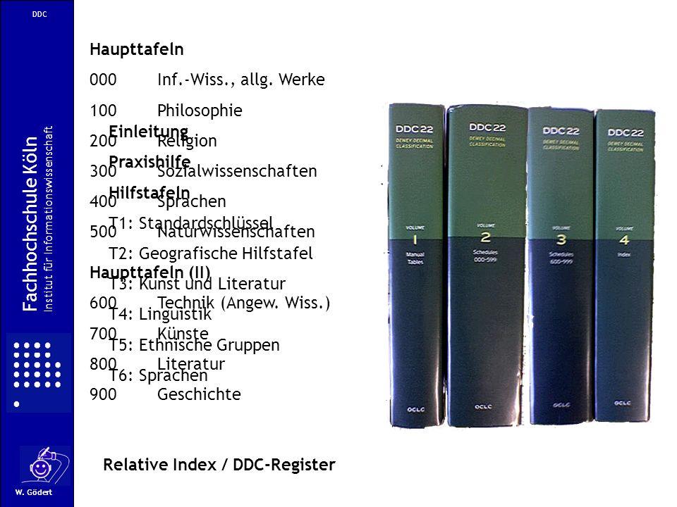 Fachhochschule Köln Haupttafeln 000 Inf.-Wiss., allg. Werke
