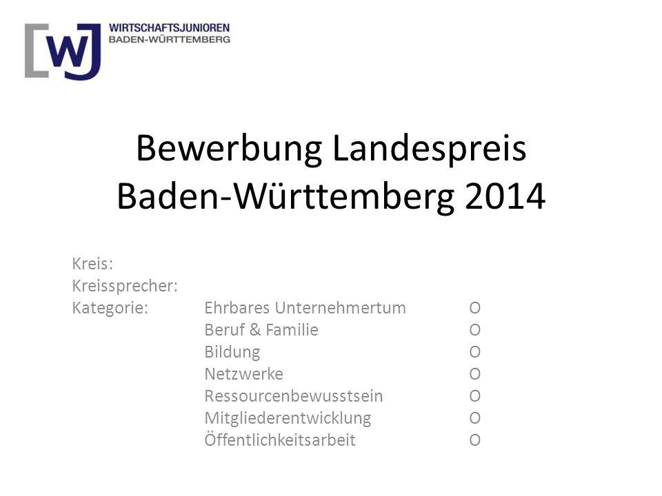 Bewerbung Landespreis Baden-Württemberg 2014