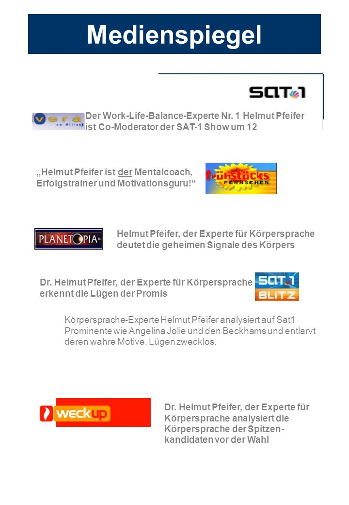 Medienspiegel Der Work-Life-Balance-Experte Nr. 1 Helmut Pfeifer