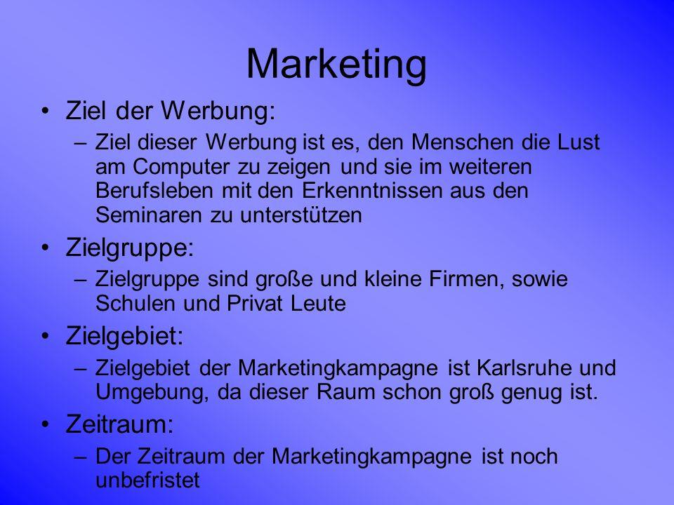 Marketing Ziel der Werbung: Zielgruppe: Zielgebiet: Zeitraum: