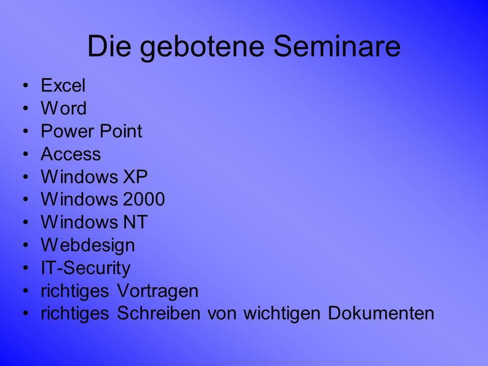 Die gebotene Seminare Excel Word Power Point Access Windows XP