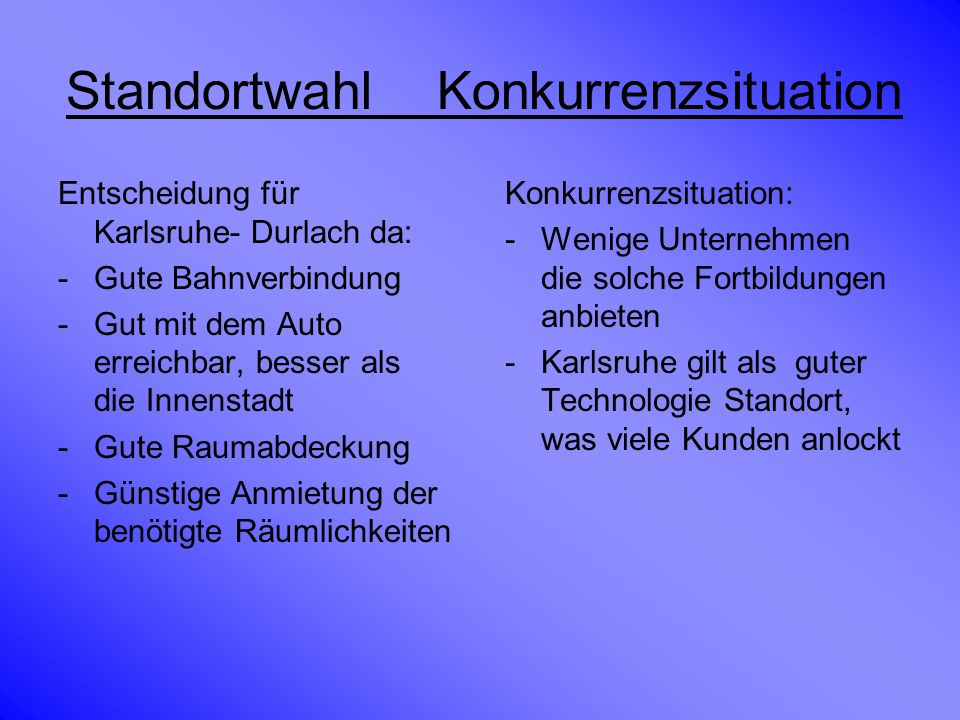 Standortwahl Konkurrenzsituation