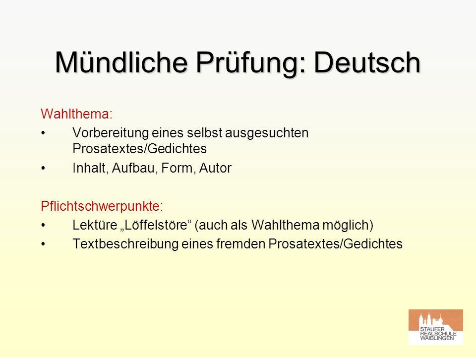 Mündliche Prüfung: Deutsch