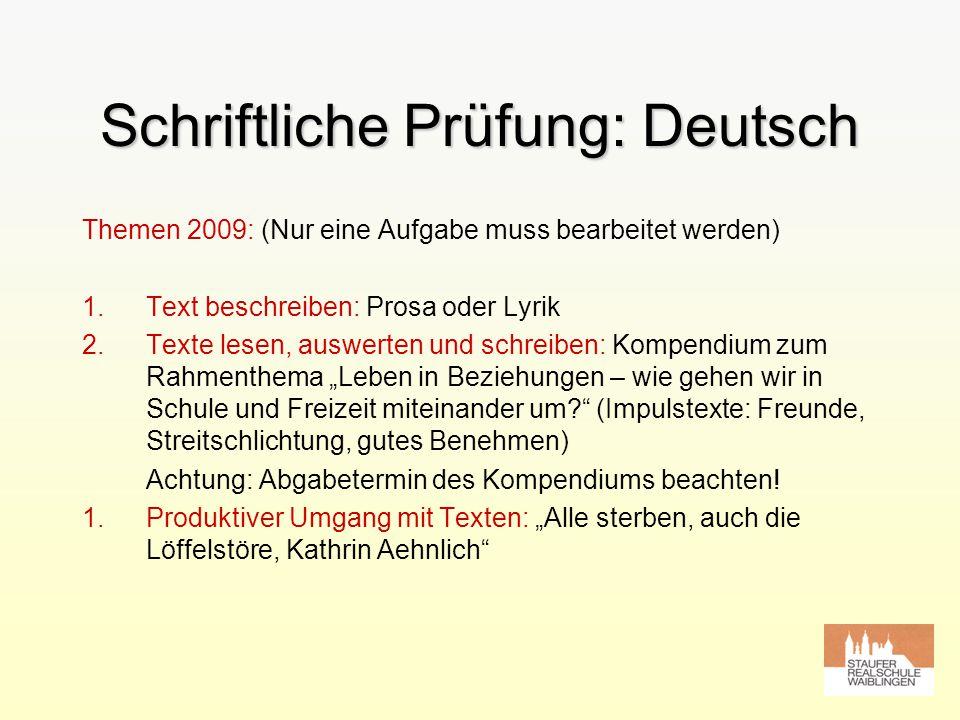 Schriftliche Prüfung: Deutsch