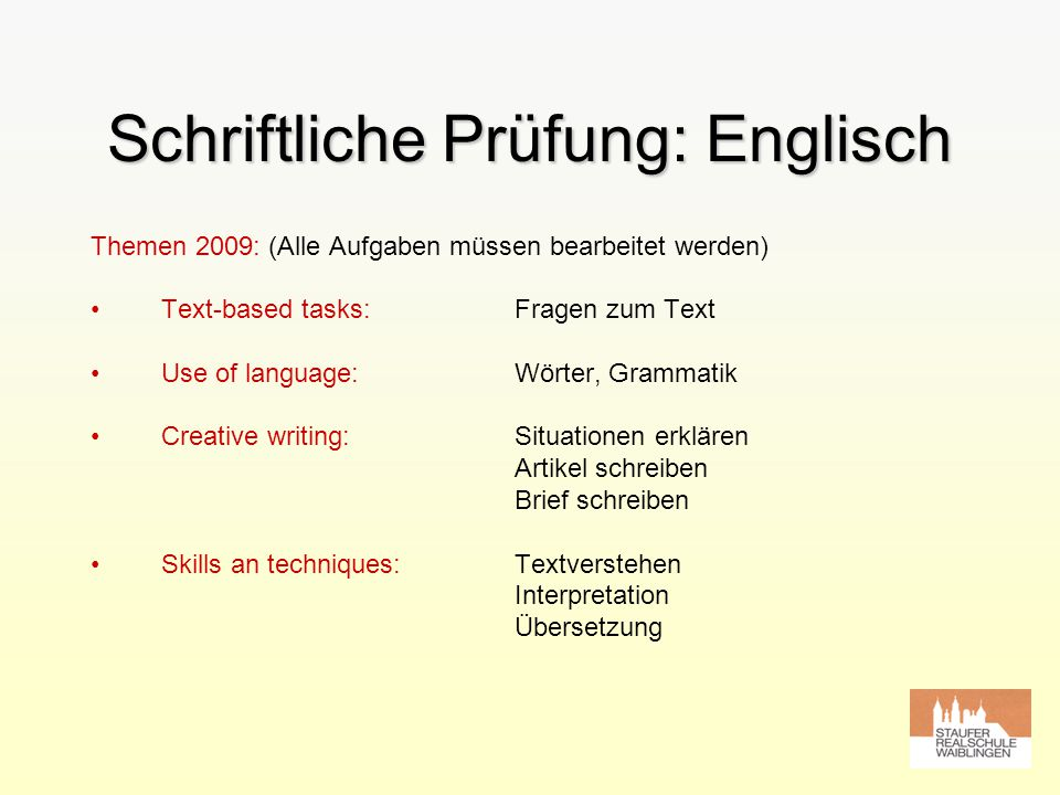 Schriftliche Prüfung: Englisch