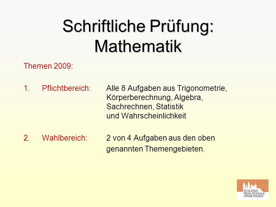 Schriftliche Prüfung: Mathematik