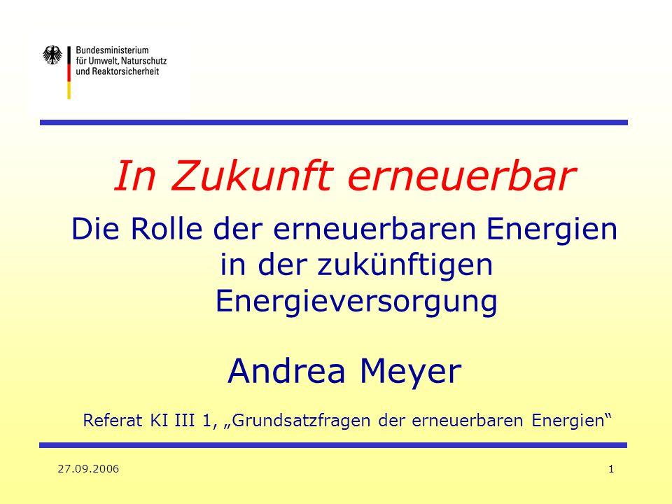 """Referat KI III 1, """"Grundsatzfragen der erneuerbaren Energien"""