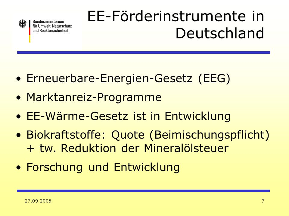 EE-Förderinstrumente in Deutschland