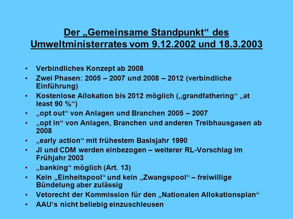"""Der """"Gemeinsame Standpunkt des Umweltministerrates vom 9. 12"""