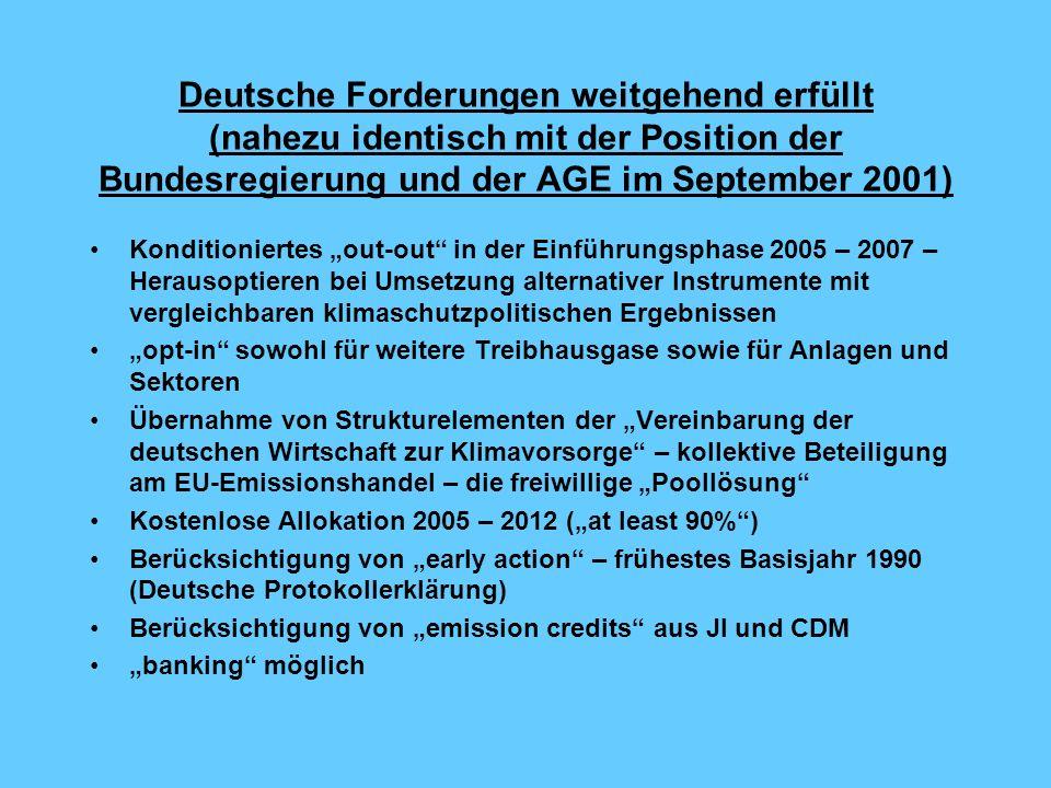 Deutsche Forderungen weitgehend erfüllt (nahezu identisch mit der Position der Bundesregierung und der AGE im September 2001)