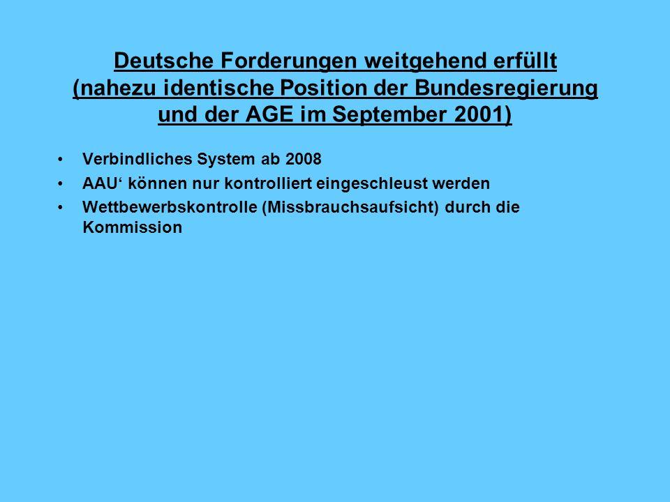 Deutsche Forderungen weitgehend erfüllt (nahezu identische Position der Bundesregierung und der AGE im September 2001)