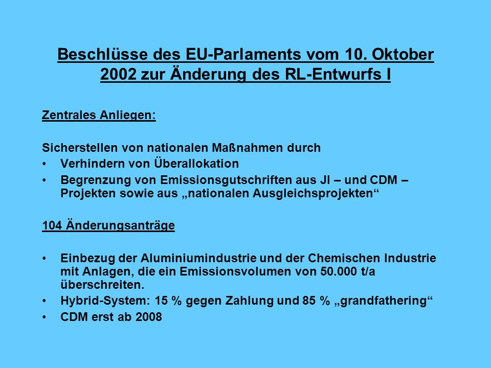 Beschlüsse des EU-Parlaments vom 10