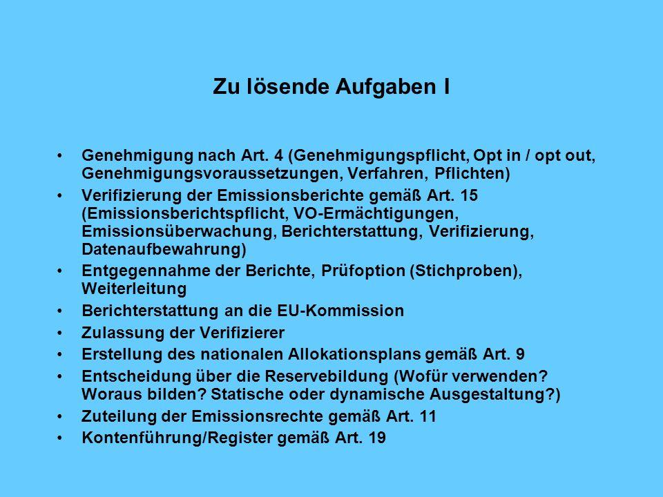Zu lösende Aufgaben I Genehmigung nach Art. 4 (Genehmigungspflicht, Opt in / opt out, Genehmigungsvoraussetzungen, Verfahren, Pflichten)