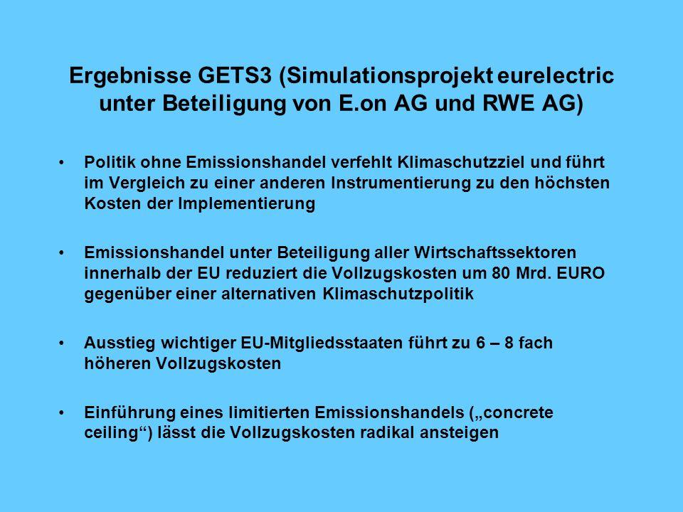 Ergebnisse GETS3 (Simulationsprojekt eurelectric unter Beteiligung von E.on AG und RWE AG)
