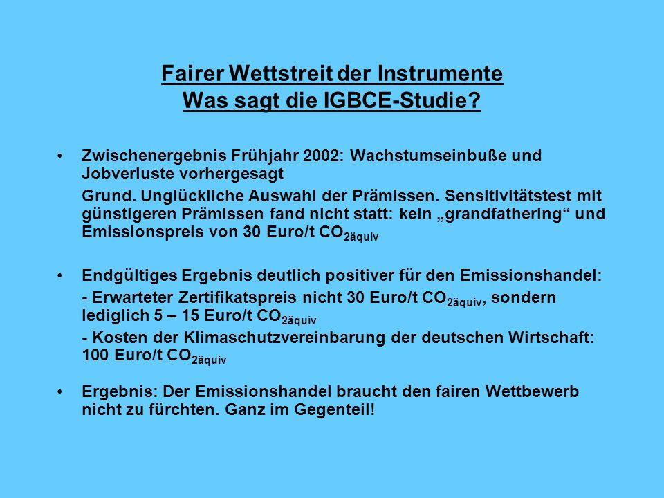 Fairer Wettstreit der Instrumente Was sagt die IGBCE-Studie