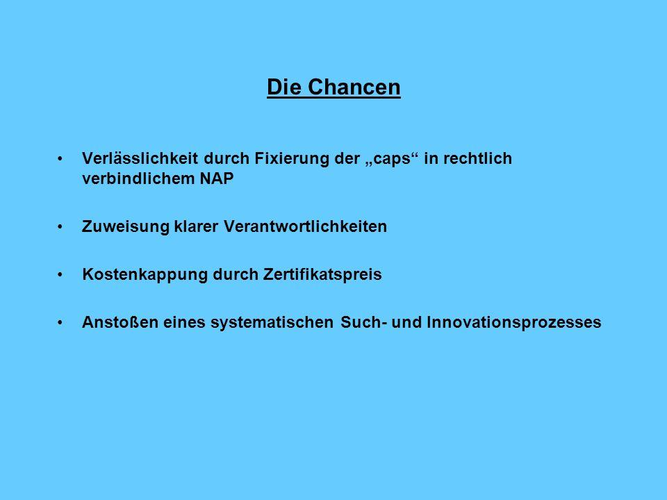 """Die Chancen Verlässlichkeit durch Fixierung der """"caps in rechtlich verbindlichem NAP. Zuweisung klarer Verantwortlichkeiten."""