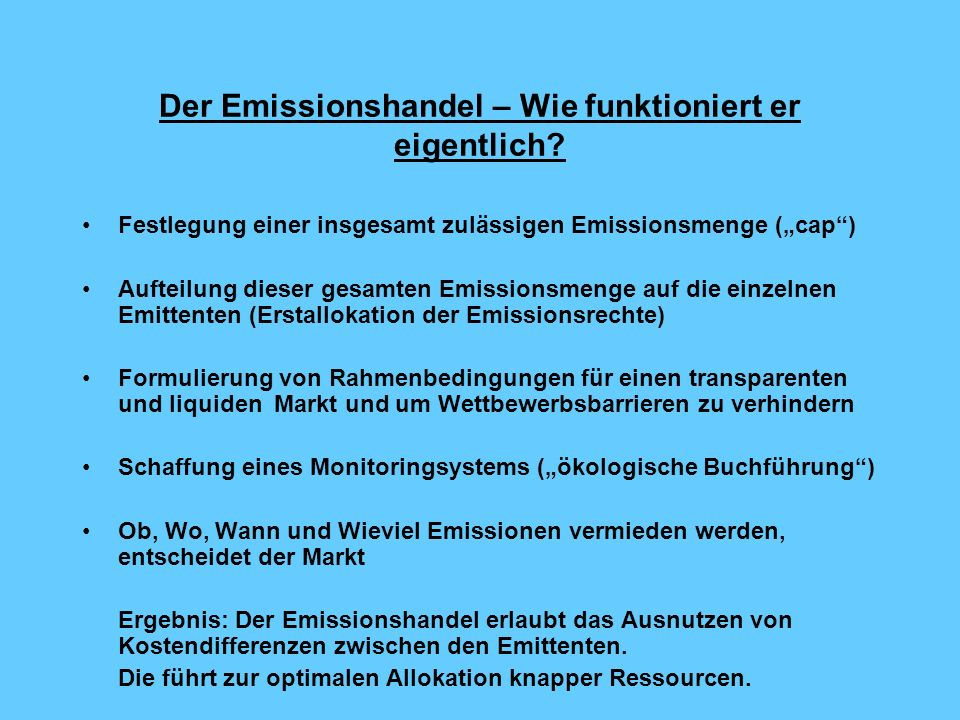 Der Emissionshandel – Wie funktioniert er eigentlich