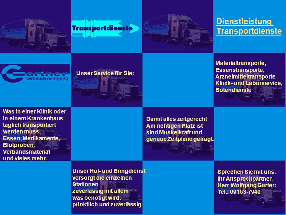 Dienstleistung Transportdienste Materialtransporte, Essenstransporte,