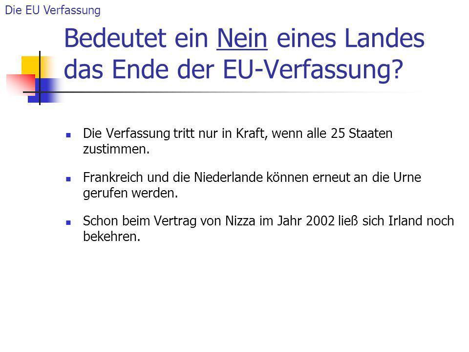 Bedeutet ein Nein eines Landes das Ende der EU-Verfassung