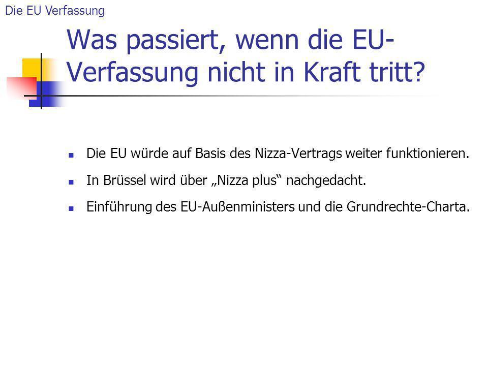 Was passiert, wenn die EU-Verfassung nicht in Kraft tritt