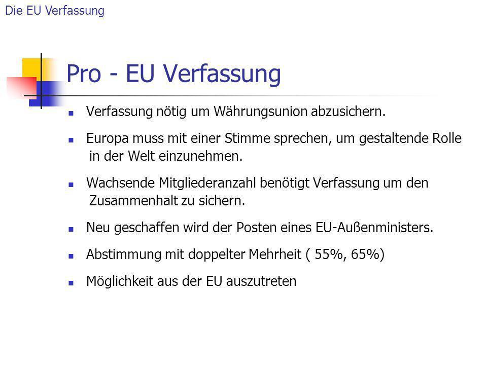 Pro - EU Verfassung Verfassung nötig um Währungsunion abzusichern.