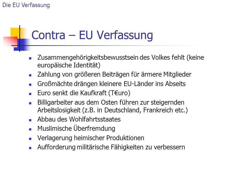 Die EU Verfassung Contra – EU Verfassung. Zusammengehörigkeitsbewusstsein des Volkes fehlt (keine europäische Identität)