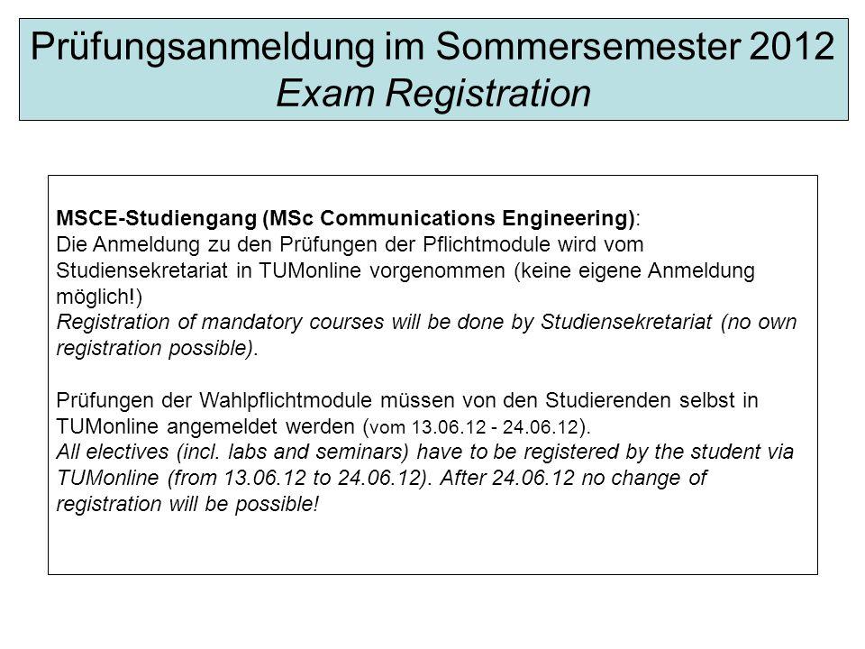 Prüfungsanmeldung im Sommersemester 2012